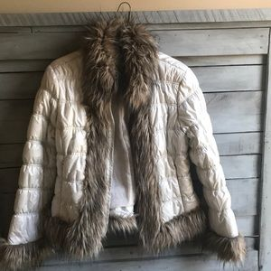 Faux fur collar and trim puffer jacket